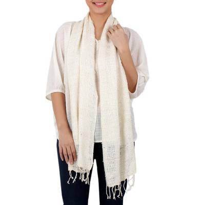 100% silk scarf, 'White Breeze' - Thai Hand Woven 100% Silk Scarf in White