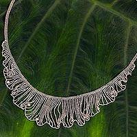 Sterling silver waterfall necklace, 'Dancing Breeze' - Thai Handcrafted Sterling Silver Waterfall Necklace