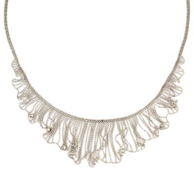 Thai Handcrafted Sterling Silver Waterfall Necklace