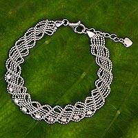 Sterling silver chain bracelet, 'Adorable Lace' - Sterling Silver Five-Strand Braided Ball Chain Bracelet