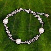 Cultured pearl beaded bracelet, 'White Jasmine Trio' - Thai Handcrafted Cultured Pearl and Sterling Silver Bracelet