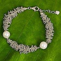 Cultured pearl beaded bracelet, 'White Coral Reef' - Handcrafted Thai Sterling Silver Bracelet & Cultured Pearls