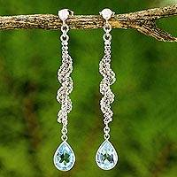 Blue topaz dangle earrings, 'Blue Rose Teardrop' - Sterling Silver Ball Chain and Blue Topaz Dangle Earrings