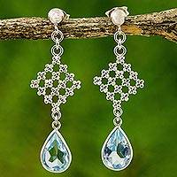 Blue topaz dangle earrings, 'Blue Jasmine Cluster' - Handcrafted Blue Topaz Floral Earrings in Silver