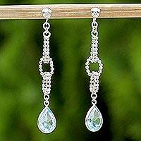Blue topaz dangle earrings, 'After the Rain' - Handcrafted Sterling Silver and Blue Topaz Dangle Earrings