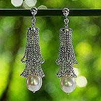 Cultured pearl chandelier earrings, 'Lily Petals' - Cultured Pearl and Sterling Silver Earrings from Thailand