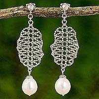 Cultured pearl chandelier earrings, 'Webbed Chandeliers' - Cultured Pearl Chandelier Earrings Handcrafted in Thailand
