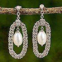 Cultured pearl chandelier earrings, 'Halo Chandeliers' - Thai Silver Handcrafted Cultured Pearl Chandelier Earrings
