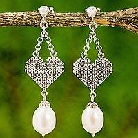 Cultured pearl chandelier earrings, 'Heart Chandeliers' - Cultured Pearl Chandelier Heart Earrings from Thailand