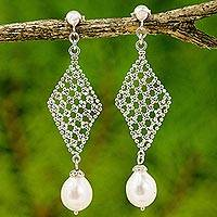Cultured pearl chandelier earrings, 'Diamond Chandeliers' - Cultured Pearl Diamond Shape Chandelier Earrings Thailand