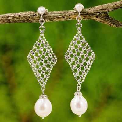 Cultured pearl diamond shape chandelier earrings thailand diamond cultured pearl chandelier earrings diamond chandeliers cultured pearl diamond shape chandelier earrings mozeypictures Images