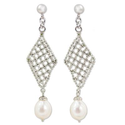 Cultured Pearl Diamond Shape Chandelier Earrings Thailand