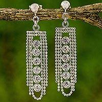 Sterling silver chandelier earrings, 'Elegant Chandeliers' - Sterling Silver Chain Chandelier Earrings from Thailand