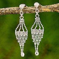 Sterling silver chandelier earrings, 'Hot Air Balloons' - Sterling Silver Beaded Chandelier Earrings from Thailand