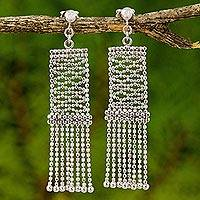 Sterling silver waterfall earrings, 'Flying Carpet Chandeliers' - Sterling Silver Waterfall Earrings on Posts from Thailand