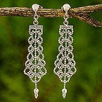 Sterling silver chandelier earrings, 'Beaded Chandeliers' - Sterling Silver Chandelier Earrings on Posts from Thailand