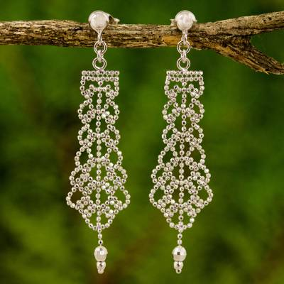 Sterling Silver Chandelier Earrings Beaded Chandeliers On Posts