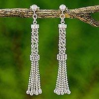 Sterling silver waterfall earrings, 'Cage Chandeliers' - Sterling Silver Chandelier Post Earrings from Thailand
