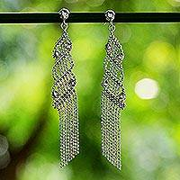 Sterling silver waterfall earrings, 'Waterfall Fringe' - Sterling Silver Ball Chain Chandelier Earrings from Thailand