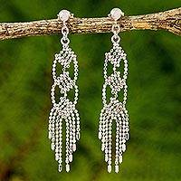 Sterling silver chandelier earrings, 'Palace Chandeliers' - Sterling Silver Chandelier Earrings Handcrafted in Thailand