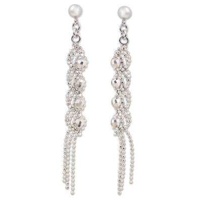 Sterling Silver Spiral Waterfall Earrings from Thailand