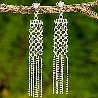 Sterling silver waterfall earrings, 'Net Chandeliers' - Sterling Silver Waterfall Earrings on Posts from Thailand