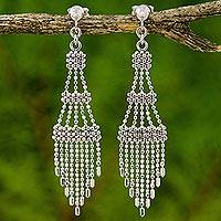 Sterling silver chandelier earrings, 'Beautiful Chandeliers' - Ornate Sterling Silver Chandelier Earrings from Thailand