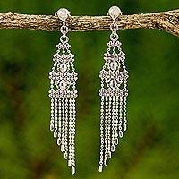 Sterling silver chandelier earrings, 'Beautiful Beaded Chandeliers' - Multilayer Sterling Silver Chandelier Earrings from Thailand