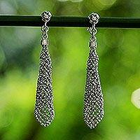 Sterling silver dangle earrings, 'Sparkling Dresses' - Sterling Silver Ball Chain Dangle Earrings from Thailand