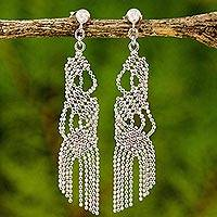 Sterling silver chandelier earrings, 'Waterfall Chandeliers' - Unique Sterling Silver Chandelier Earrings from Thailand