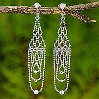 Sterling silver chandelier earrings, 'Regal Chandeliers' - Sterling Silver Beaded Chandelier Earrings from Thailand