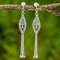 Sterling silver waterfall earrings, 'Falling Star' - Sterling Silver Beaded Waterfall Earrings from Thailand