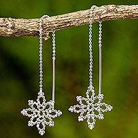 Sterling silver dangle earrings, 'Silver Snowflakes' - Sterling Silver Snowflake Dangle Earrings from Thailand
