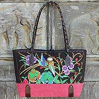 Cotton shoulder bag, 'Mandarin Tropical in Red' - Floral 100% Cotton Embroidered Handbag in Black and Red