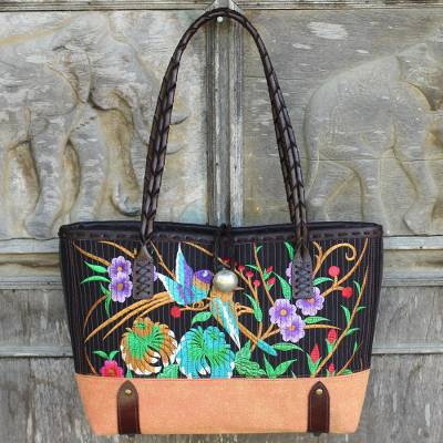 Cotton shoulder bag, 'Mandarin Tropical in Yellow' - Embroidered Cotton Shoulder Bag with Floral Motif