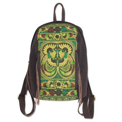 Artisan Crafted Embroidered Cotton Backpack from Thailand