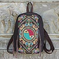 Cotton and leather accent embroidered backpack, 'Yin-Yang Journey' - Colorful Embroidered Cotton Backpack with Yin and Yang