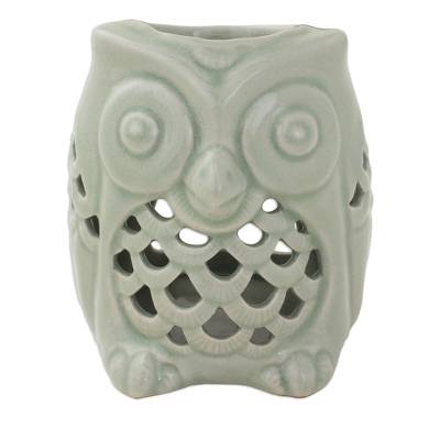 Artisan Crafted Ceramic Owl Oil Warmer from Thailand