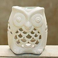 Ceramic oil warmer, 'Cozy Owl' - Hand-Crafted Thai Unglazed Ceramic Clay Owl Oil Warmer