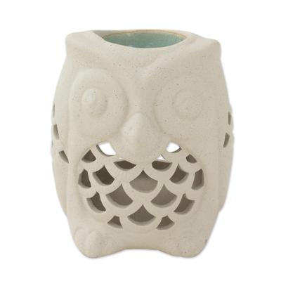 Hand-Crafted Thai Unglazed Ceramic Clay Owl Oil Warmer