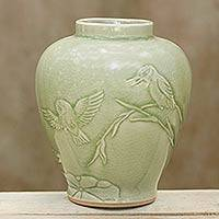 Celadon ceramic vase, 'Hummingbird Idyll' - Artisan Crafted Ceramic Vase with Bird Motif from Thailand