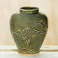 Ceramic vase, 'Hummingbirds and Bamboo' - Thai Hand Crafted Green Ceramic Vase with Bird Motif