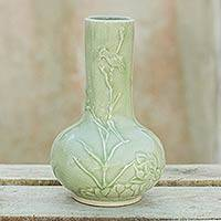 Celadon ceramic vase, 'Tranquility' - Thai Artisan Crafted Nature Inspired Ceramic Green Vase