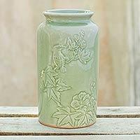 Celadon ceramic vase, 'Natural Glory' - Artisan Crafted Nature Inspired Green Ceramic Vase