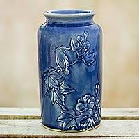 Ceramic vase, 'Peaceful in Blue' - Thai Artisan Crafted Blue Ceramic Vase with Bird Motif