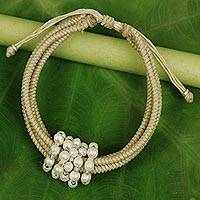 Cultured pearl wristband bracelet, 'All My Love in Beige' - Thai Beige Wristband Bracelet with Cultured Pearls