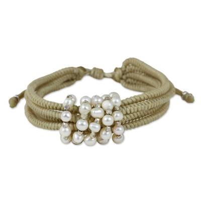 Thai Beige Wristband Bracelet with Cultured Pearls