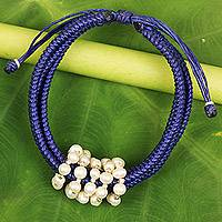 Cultured pearl wristband bracelet, 'All My Love in Royal Blue' - Royal Blue Thai Wristband Bracelet with Cultured Pearls