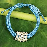 Cultured pearl wristband bracelet, 'All My Love in Sky Blue' - Sky Blue Cord Bracelet with Cultured Pearls from Thailand