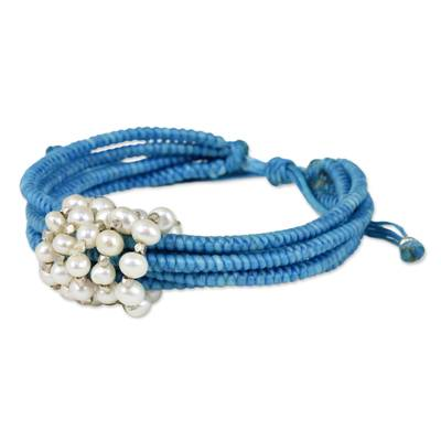 Sky Blue Cord Bracelet with Cultured Pearls from Thailand